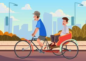 trishaw bike vetor