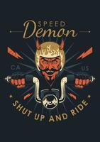 Emblema da motocicleta vintage de demônio vetor