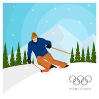 Ilustração em vetor plana esqui nos Jogos Olímpicos de Inverno de Coréia