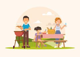 Jovem, família, piquenique, ilustração vetor