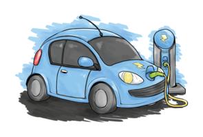 Ilustração vetorial de carro elétrico