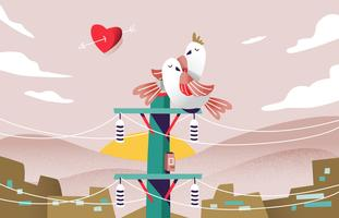Ilustração do vetor do pássaro do amor verdadeiro