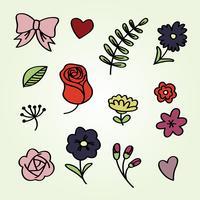 Ornamentos desenhados mão floral vetor