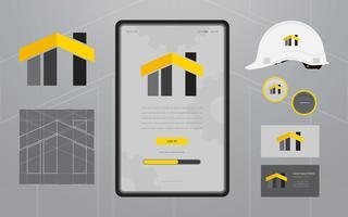 Logos de construção na mídia de set de papelaria. Modelo de perfil da empresa de construção. vetor