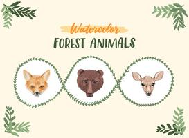animais da floresta de aquarela