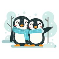 casal de pinguins vetor