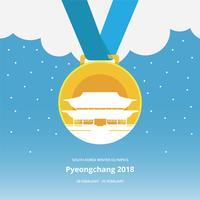 Medalhas de ouro Jogos Olímpicos de Inverno Coreia Ilustração vetor