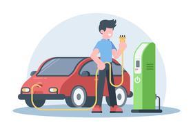 Jovem carregando seu carro elétrico vetor
