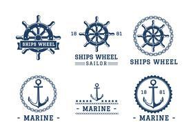 modelo de logotipo da roda do navio vetor livre