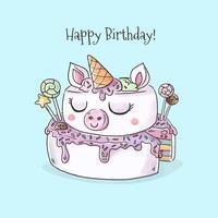 Vector do bolo de aniversário do unicórnio da aguarela