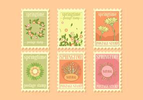 Vetor de selos postais de primavera