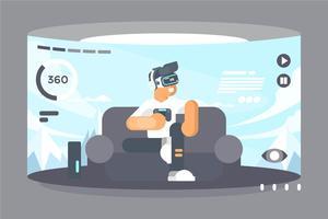 Ilustração de experiência de realidade virtual