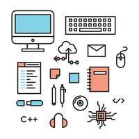 Delineou ícones de engenheiros de software vetor