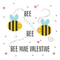 Vetor de cartão de dia dos namorados de mina de abelha