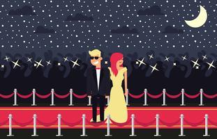 Vetor de ilustração plana de tapete vermelho de Hollywood