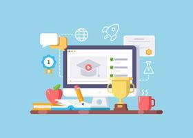Educação on-line e ilustração de aprendizagem vetor