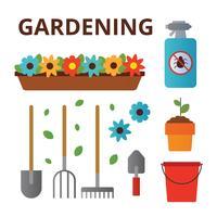 Vector de elementos de jardinagem