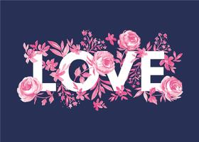 Amor e Florals vetor