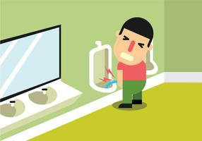 Uma dor de homem ao urinar vetor