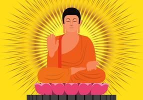 Buda na ilustração de posição de proteção