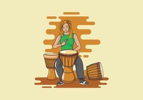 djembe musician illustration vetor