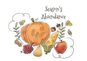 Watercolor Healthy Autumn Frutas e vegetais flutuando com folhas e ornamento para cair temporada vetor
