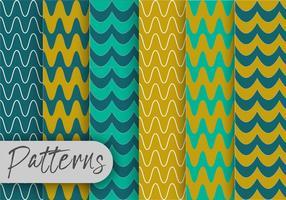 Conjunto de padrões de linha azul e verde vetor