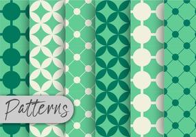 Conjunto de padrão verde retrô vetor