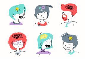 Pessoas, mente, Emoção, personagem, desenho animado, ilustração vetorial vetor