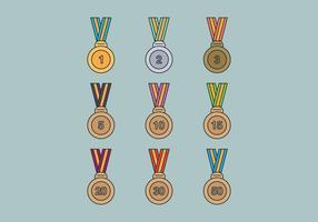 Conjunto de medalhas vetor
