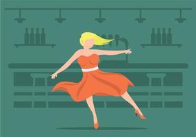 Linda garota em uma ilustração de saia de caniche vetor