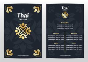 Modelo de menu tailandês elegante vetor