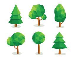 Árvores poligonais baixas vetor