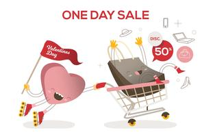 dia dos namorados, venda, carrinho, engraçado, personagem, vetorial, ilustração vetor