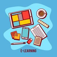 E-Learning usando o tablet vetor