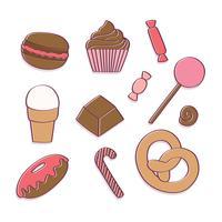 Doces e doces desenhados à mão vetor