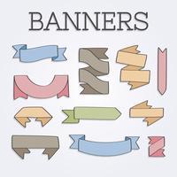 Banners de mão desenhada Vintage vetor