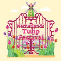Desfile de Flores no Festival das Tulipas de Holanda ou Países Baixos vetor