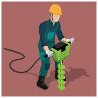 Vetor de homem de construção de broca