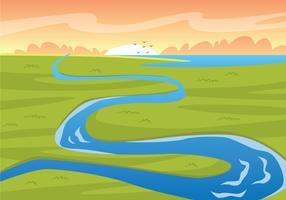 Ilustração da margem do rio vetor