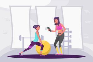Ilustração estilosa do instrutor de fitness