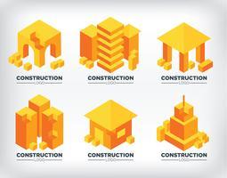 Logotipos de construção isométrica