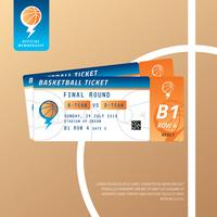 Vetor de bilhete de jogo de basquete