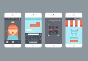 Conjunto de vetores de aplicativo móvel plano móvel