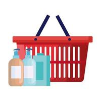 garrafas de produtos de limpeza com cesta de compras vetor