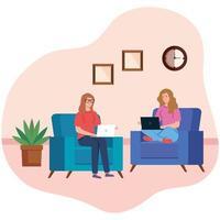 mulheres trabalhando e sentadas em uma cadeira com laptop