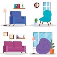 cenas da casa da sala de estar definidas