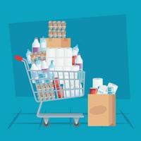 carrinho de compras cheio e sacola vetor