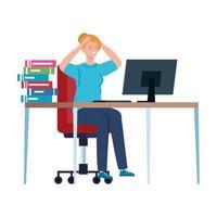 mulher com ataque de estresse no local de trabalho vetor