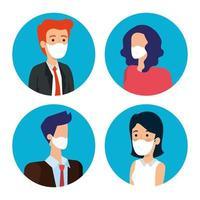 empresários com máscaras faciais ícones de avatar vetor